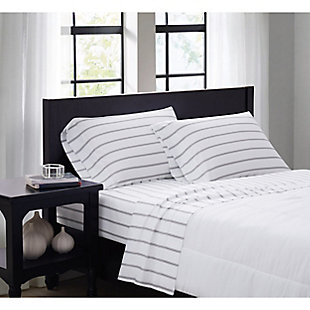 Truly Soft Ticking Stripe 3 Piece Twin Sheet Set, White/Gray, rollover