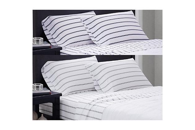 Truly Soft Ticking Stripe 3 Piece Twin Sheet Set, White/Gray, large