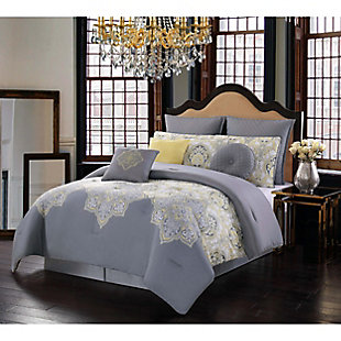 Style 212 Style 212 10 Piece Queen Comforter Set, Gray/Yellow, rollover