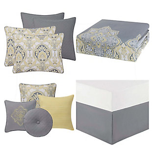 Style 212 Style 212 10 Piece Queen Comforter Set, Gray/Yellow, large