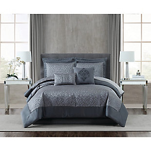 5th Avenue Lux Coventry 7 Piece Queen Comforter Set, Charcoal, rollover