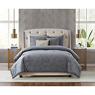 5th Avenue Lux Madison 7 Piece Queen Comforter Set, Gray, rollover