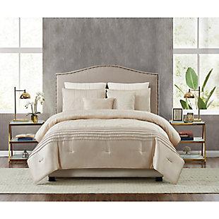 5th Avenue Lux Noelle 7 Piece Queen Comforter Set, Gold, rollover