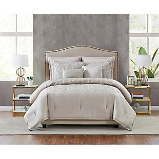 5th Avenue Lux Riverton 7 Piece Queen Comforter Set, Gold, rollover