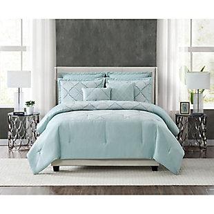 5th Avenue Lux Roya 7 Piece Queen Comforter Set, Light Blue, rollover