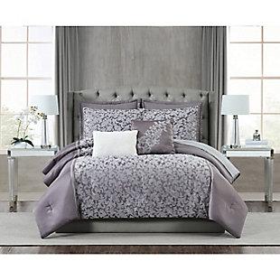 5th Avenue Lux Westbury 7 Piece Queen Comforter Set, Gray Violet, rollover