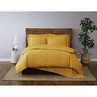 Brooklyn Loom Solid Cotton 2 Piece Twin Duvet Set, Mustard, rollover
