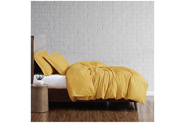 Brooklyn Loom Solid Cotton 2 Piece Twin Duvet Set, Mustard, large