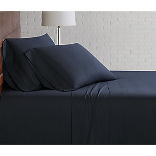 Brooklyn Loom Classic Cotton 3 Piece Twin Sheet Set, Black, rollover
