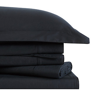 Brooklyn Loom Classic Cotton 3 Piece Twin Sheet Set, Black, large