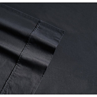 Brooklyn Loom Classic Cotton 3 Piece Twin Sheet Set, Black, large