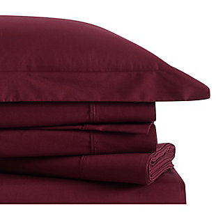 Brooklyn Loom Classic Cotton 4 Piece Full Sheet Set, Burgundy, large