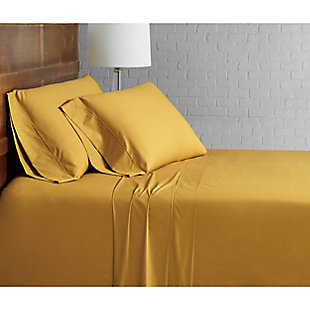Brooklyn Loom Solid Cotton 3 Piece Twin Sheet Set, Mustard, rollover