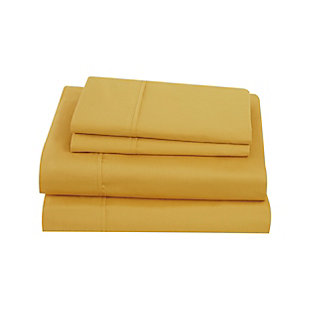 Brooklyn Loom Solid Cotton 3 Piece Twin Sheet Set, Mustard, large