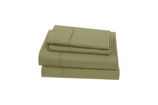 Brooklyn Loom Solid Cotton 4 Piece Queen Sheet Set, Olive Green, large