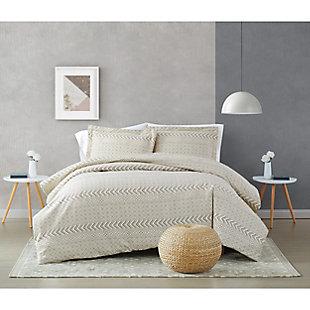 Brooklyn Loom Chase 2 Piece Twin/Twin XL Comforter Set, Cream/Black, rollover