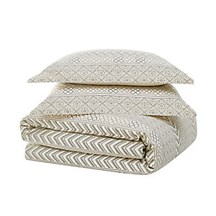 Brooklyn Loom Chase 3 Piece Full/Queen Duvet Set, Cream/Black, large