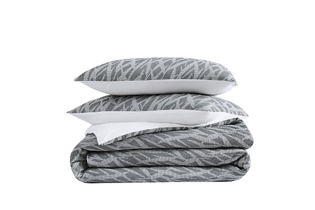 Brooklyn Loom Honey Waffle 3 Piece Full/Queen Comforter Set, Gray, large
