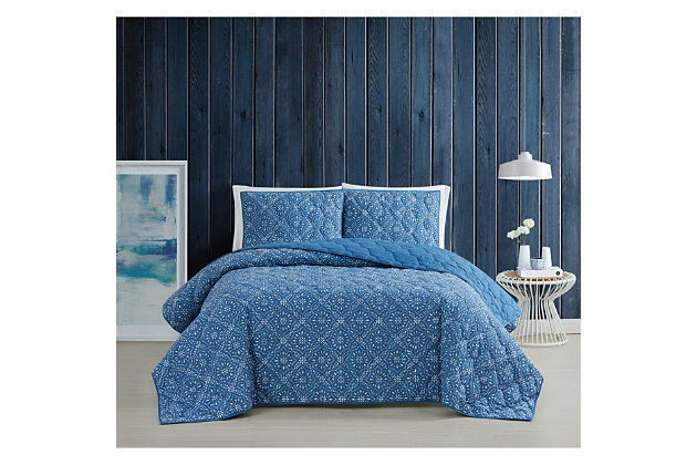 Brooklyn Loom Katrine 2 Piece Twin/Twin XL Quilt Set, Blue, large