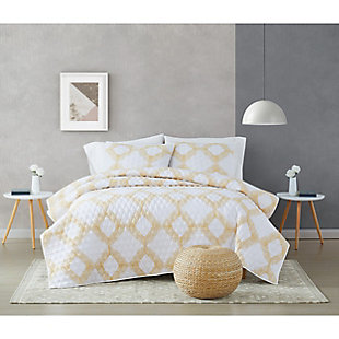 Brooklyn Loom Merill 2 Piece Twin/Twin XL Quilt Set, White/Gold, rollover