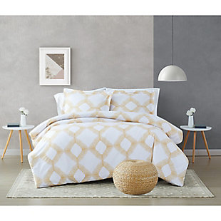 Brooklyn Loom Merill 2 Piece Twin/Twin XL Comforter Set, White/Gold, rollover