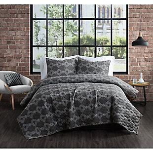 Brooklyn Loom Nina 2 Piece Twin/Twin XL Quilt Set, Gray, rollover