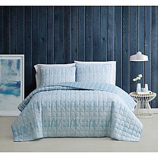 Brooklyn Loom Trevor 2 Piece Twin/Twin XL Quilt Set, Blue/White, rollover
