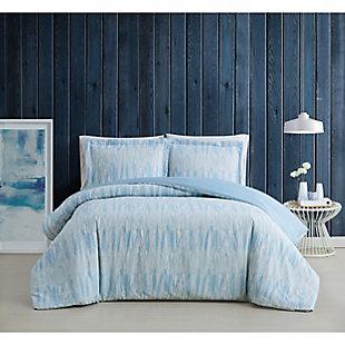 Brooklyn Loom Trevor 3 Piece Full/Queen Duvet Set, Blue/White, rollover