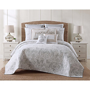 Oceanfront Resort Tropical Plantation Toile 2 Piece Twin XL Quilt Set, White/Gray, rollover