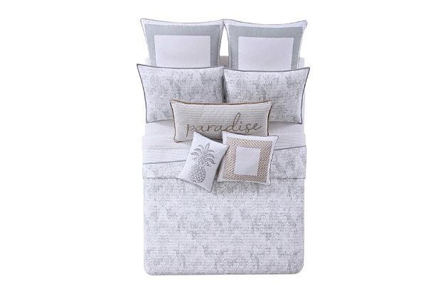 Oceanfront Resort Tropical Plantation Toile 2 Piece Twin XL Quilt Set, White/Gray, large