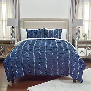 Cotton Sawyer Twin Quilt, Indigo, rollover