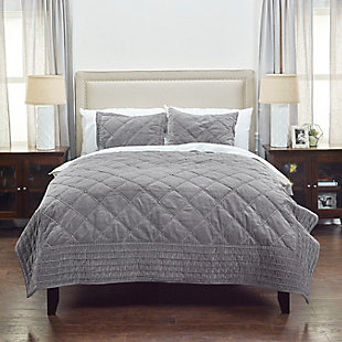 Cotton Collin Queen Quilt, Gray, large