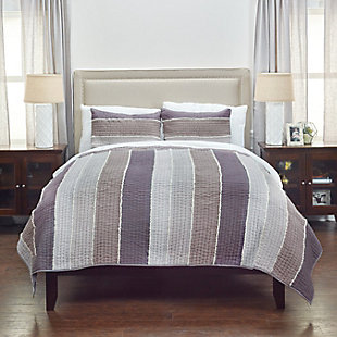 Cotton Olivia Grace Twin Quilt, Gray, rollover