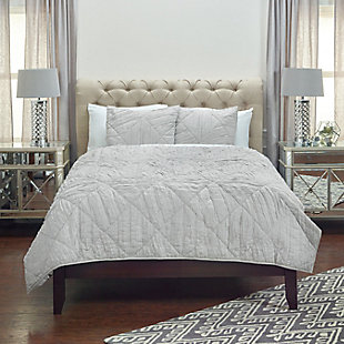 Cotton Stirling Twin Quilt, Gray, rollover