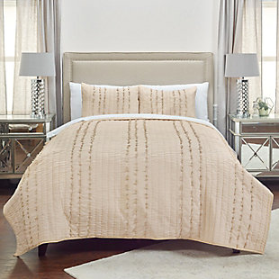 Cotton Piper Twin Quilt, Light Brown, rollover