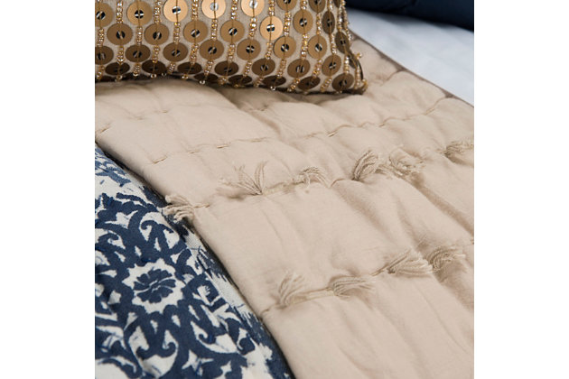 Cotton Piper Twin Quilt, Light Brown, large