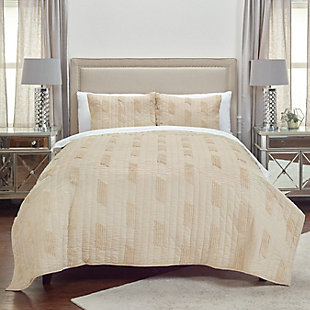 Cotton Alice Twin Quilt, Light Brown, rollover