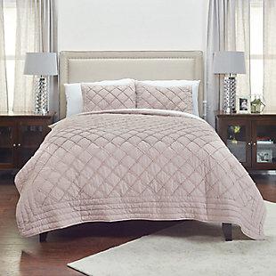 Cotton Wren King Quilt, Blush, large