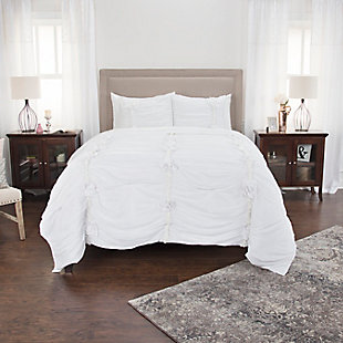 Cotton Aiyana Queen Quilt, White, large