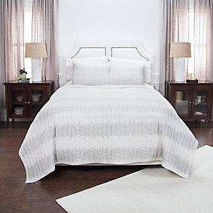 Cotton Seismic Riff Queen Quilt, White, rollover