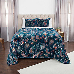 Cotton Evanstar Queen Quilt, Blue, rollover