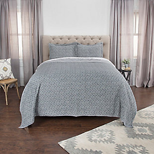 Cotton Giotto Queen Quilt, Gray, large