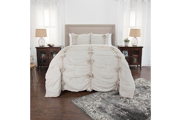 Cotton Aiyana Queen Quilt, Natural, large
