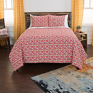 Cotton Lilou 2 Piece Twin Quilt Set, Red, rollover