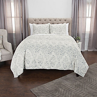 Cotton Astrid 2 Piece Twin Quilt Set, White, rollover