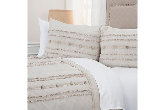 Cotton Hattie Queen Quilt, Natural, large