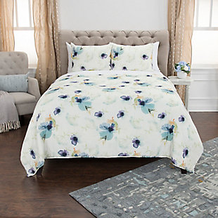 Cotton Catrine 2 Piece Twin Quilt Set, White, rollover