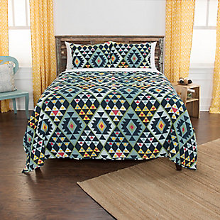 Cotton Miles 2 Piece Twin Quilt Set, Indigo, rollover