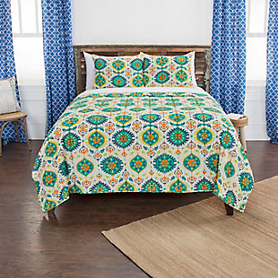 Cotton Franky 2 Piece Twin Quilt Set, Green, rollover