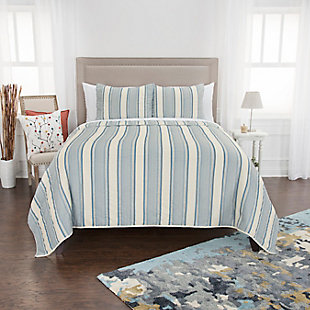 Cotton Thomas 2 Piece Twin Quilt Set, Baby Blue, rollover